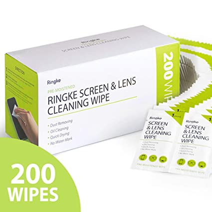 [Updated Version] Ringke Screen and Lens Cleaning Wipes, 200 (50 x 4 Pack)  Pre-Moistened Wet Alcohol Wipes Streak Free Portable Individually Wrapped