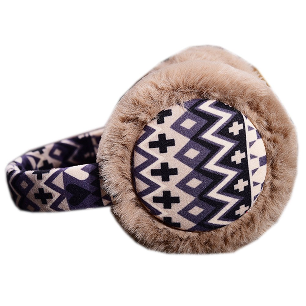 [Coffee] Brown Fur Ear Warmer Bohemia Style Frame Earmuffs Winter Used