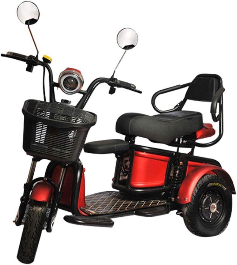 AA100 Triciclo eléctrico Viejo Doble Sentado/Adulto al Aire Libre Ocio patineta Scooter 20a batería de Litio/duración de la batería55 km/Carga (300 KG),Red