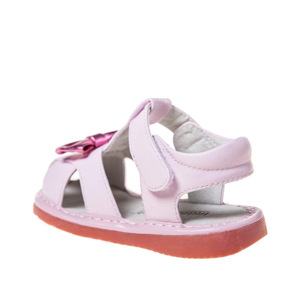 HLT Toddler//Little Kid Girl Little Bow Hook/&Loop Strap Closed-Toe Squeaky Sandal