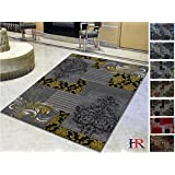 Handcraft Rugs - Yellow, Gray, Silver, Black, Abstract Area Rug Modern Contemporary Floral and Patchwork Geometric Design