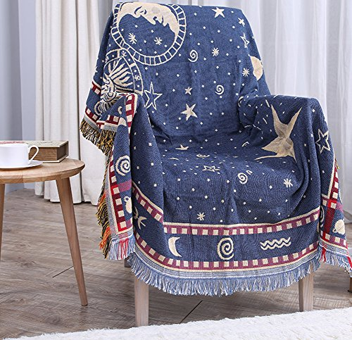 ChezMax 100% Pure Cotton Star Moon Pattern Woven Couch Throw Blanket Bedroom Decor Beach Blanket with Decorative Tassels Blue 51