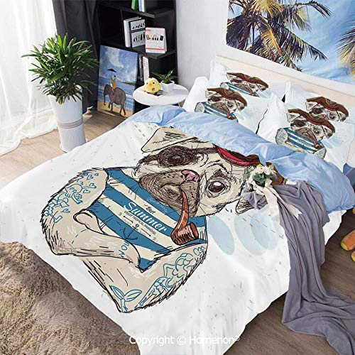 Three-Piece Bed,Pirate Pug Conqueror of The Seas Pipe Skulls and Bones Hat Striped Sleeveless T Shirt Decorative,Twin Size,Include 1 Quilt Cover+2 Pillow case,Brown Blue