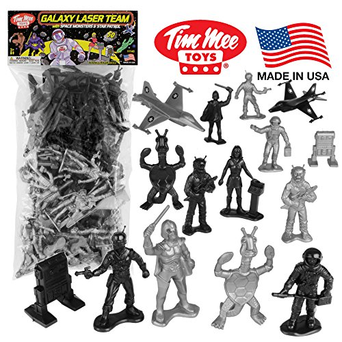 (TimMee Galaxy Laser Team Space Figures: Black vs Silver 50pc Set - Made in)