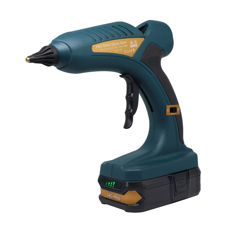 Cordless 60W 12V Hot Melt Glue Gun Rechargable 18V 1.5Ah Lithium Battery for DIY Woodwork Outdoors 0.43'' Glue Sticks 5pcs