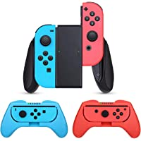 Grip Compatible with Nintendo Switch Joy-Con, 3 Pack Comfort Grip Handle Kit Compatible with Switch Joy-Con,(Blue, Red…