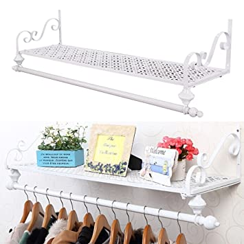 Metal Wall Mounted Coat Racks Clothes Hanging Rail Clothes Retro Hat