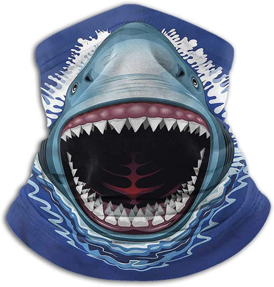 Face Scarf Shark Cold Weather Face Motorcycle Scarf Attack Open Mouth Bite 10 x 12 Inch
