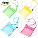 Dmaxia Seashell Bag Kid Child Beach Mesh Toy Tote Shoulder Bags with Adjustable Carrying Straps Easy Carry Breathable Toy Storage sand Bag Pack of 4(Blue Pink Green Yellow)
