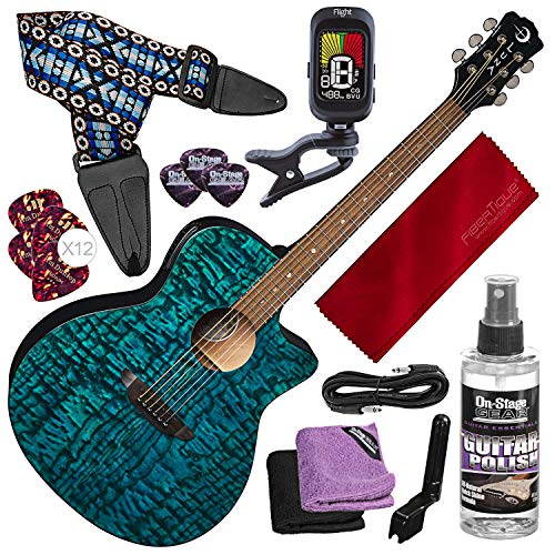 Luna Gypsy Quilt Top Acoustic/Electric Guitar, Trans Teal with Guitar Strap and Deluxe Bundle ()