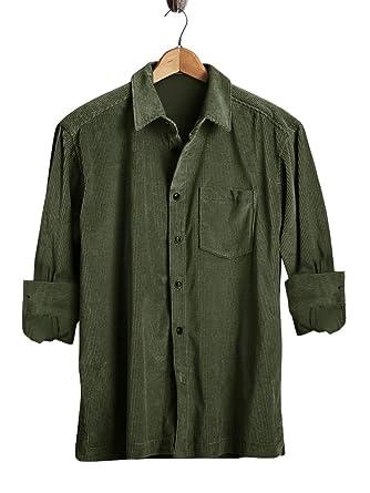 eb0675f046f6d Taoliyuan Mens Corduroy Thermal Shirt Jacket Fall Chunky Long Sleeve Button  Down Flannel Shirt Army Green