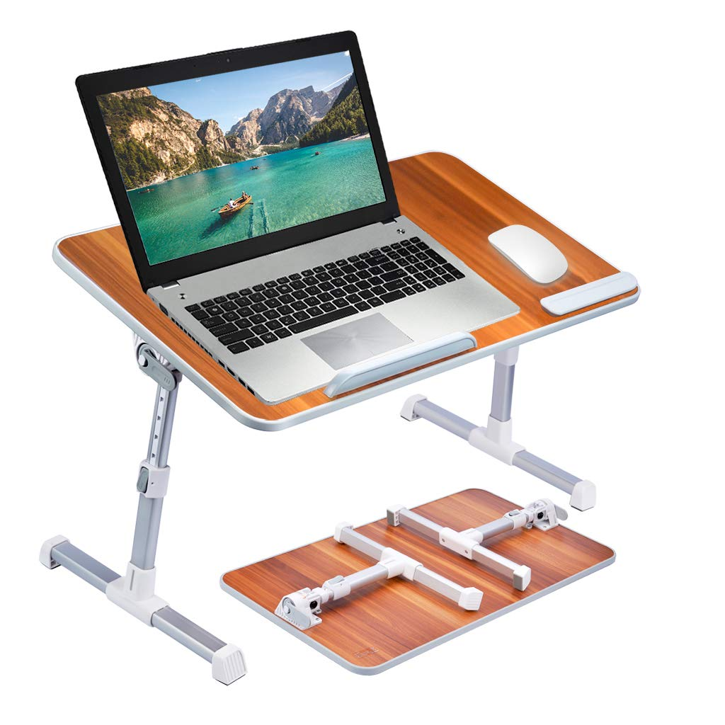 [Large Size] Neetto TB101L Adjustable Laptop Bed Table, Portable Standing Desk, Foldable Sofa Breakfast Tray, Notebook Stand Reading Holder for Couch Floor Kids - American Cherry by Avantree