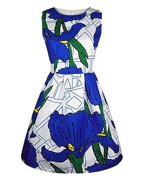 Vestido Cintura Del Estampado Floral Estilo Vintage Para Fiesta De Coctel Fiesta De Noche Cuello Barco
