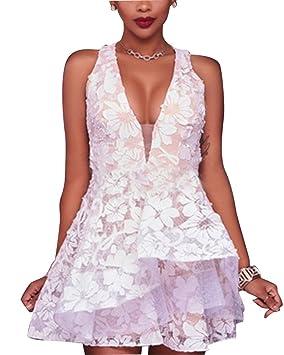Vestidos de Dama de Honor Mujeres V Cuello Sin Mangas Encaje Floral Corta Falda para Fiesta