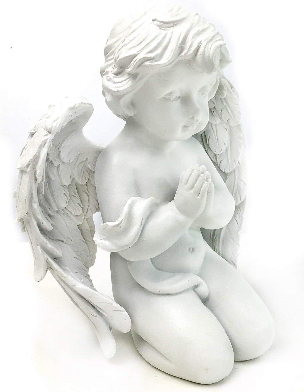 Bellaa 29929 Praying Cherub Wings Angel Statue Sculpture Memorial Statue 6 Inch