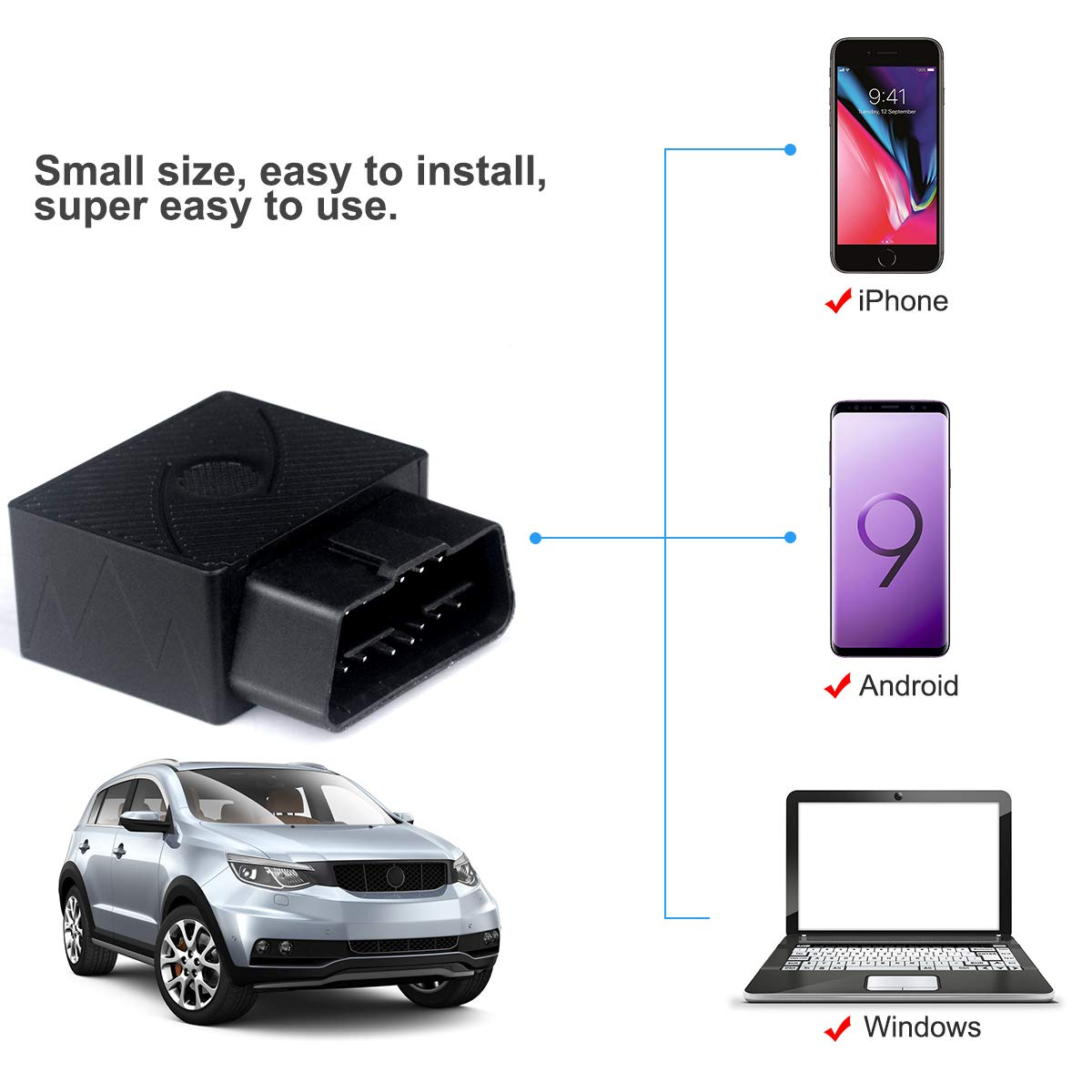 Taxi and Truck Mini OBD Car GPS Tracker OBDATOR Real-Time OBD Car GPS Tracking Device Locator OBD II Vehicle Tracker with Alert System for Car