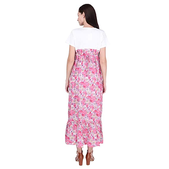 90b6440aea0 VIXENWRAP Yellow   White Polyester Floral Print Maternity Gown  Amazon.in   Clothing   Accessories
