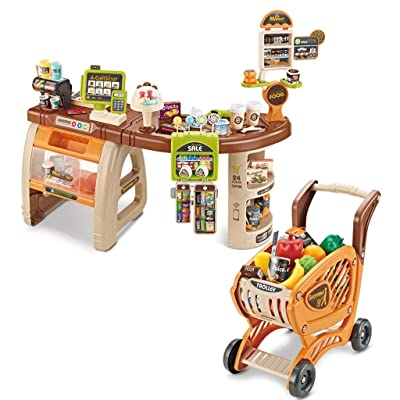 Supermarket Shopping Set for Kids - Pretend Play Shopping Grocery Store w/ Shopping Cart & Scanner, Includ Credit Card Machine/ Fruits / Unique Scan Able Food & Accessories for Boy & Girls (Brown 02): Toys & Games