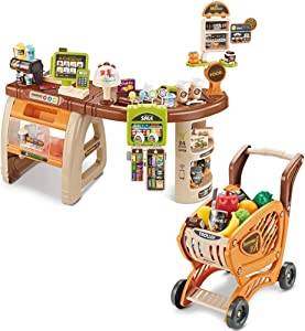Children Grocery Store Playset, Role Play Toy Supermarket Shopping Set Simulation Vending Machine with Shopping Cart and Scanner (Multicolour, A)