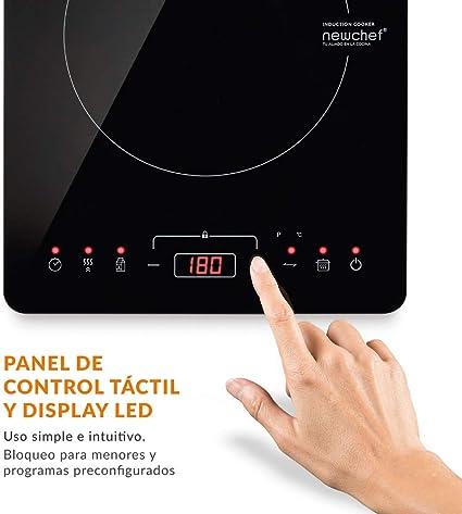 NEWCHEF - Placa Inducción Portátil Go2000 (2000W) 10 Potencias, 3 Prog. Preconfigurados y Pantalla LED. Hornillo Eléctrico con Temp. Ajustable ...