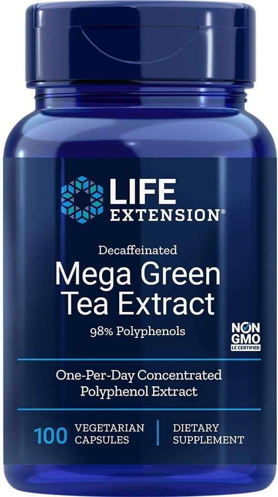 Life Extension Mega Green Tea Extract (98% Polyphenols) Decaffeinated, 100 Vegetarian Capsules: Health & Personal Care