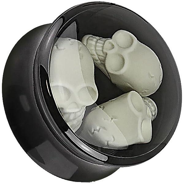 Negro Cruz Flesh Túnel para tornillos - 16 tamaños: 3 - 30 mm ...