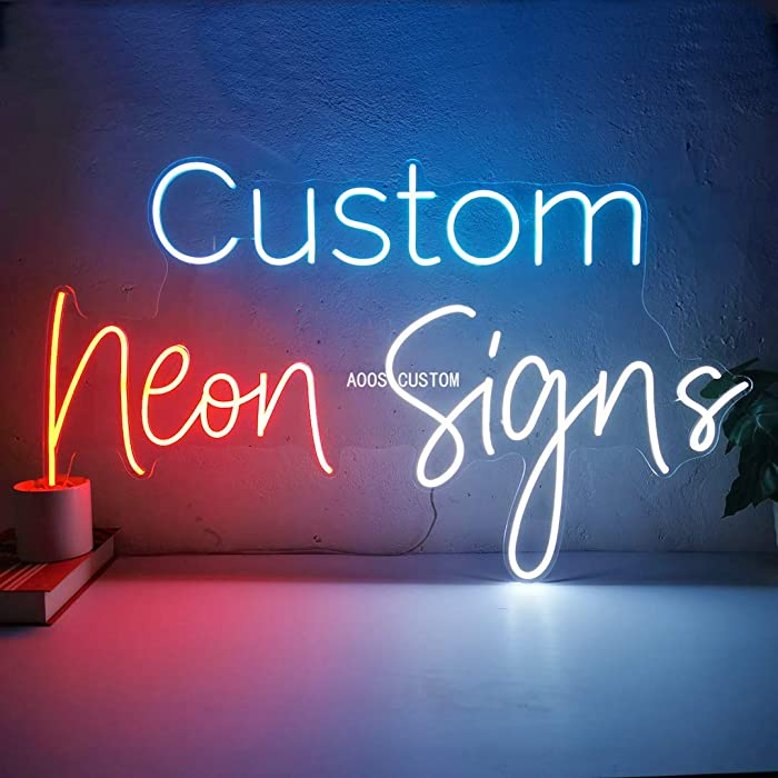 AOOS CUSTOM Dimmable LED Neon Signs for Wall Decor (Customization Options: Color, Size, Dimming, Wall Mounted, Desktop Type, Hanging in a Window/Ceiling, Electrical/Battery Powered)