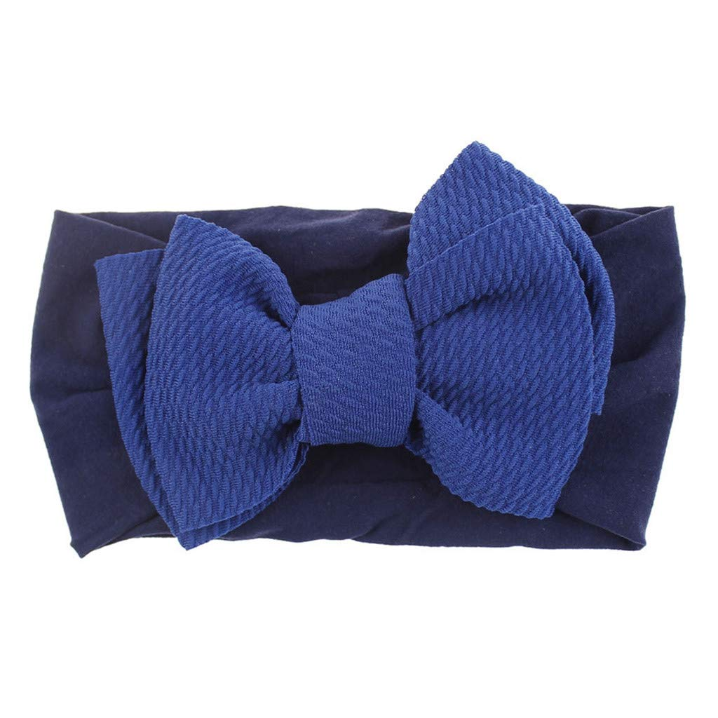 Baby Girls Headbands Baby Head Wraps Baby Headbands and Bows Chiffon Flower (Dark Blue)