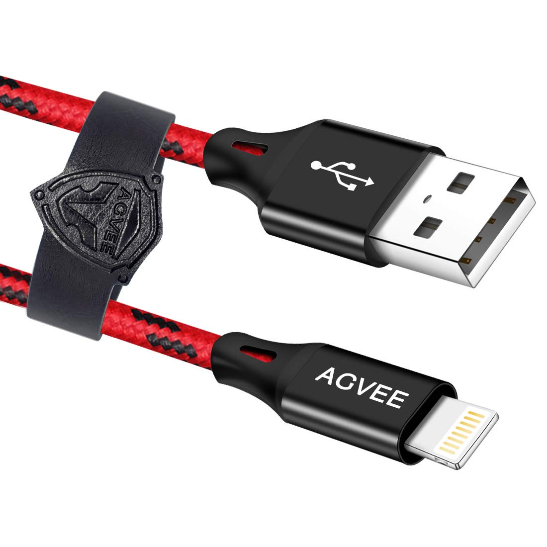AGVEE Very Long Charger Cable for iPhone [2 Pack 15ft] Unbreakable End Tip, Durable Fast Lightning Charging Data Cord for iPhone 11 Pro Max X XS XR, 10x 10xs 10s, Case Friendly, Black and Red
