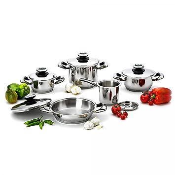 Batería de cocina de 10 Piezas de acero inoxidable 18/10 MCI - Fabricado en Italia: Amazon.es: Hogar