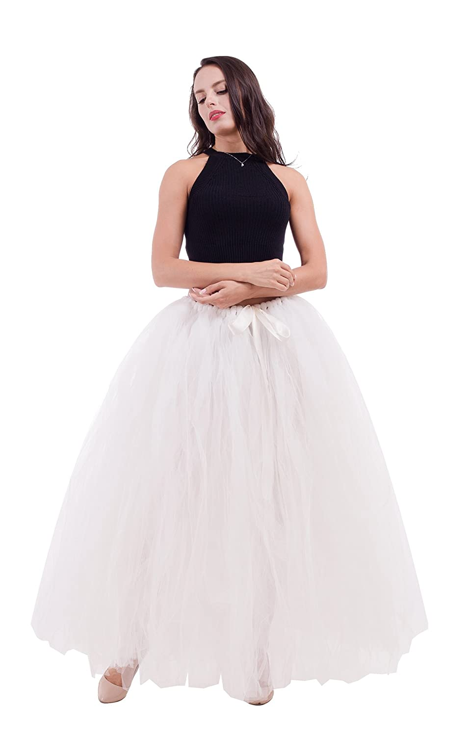 22b1b21693 150 pieces tulle are made into the waistband to create a full silhouette.  The skirt is not lined.