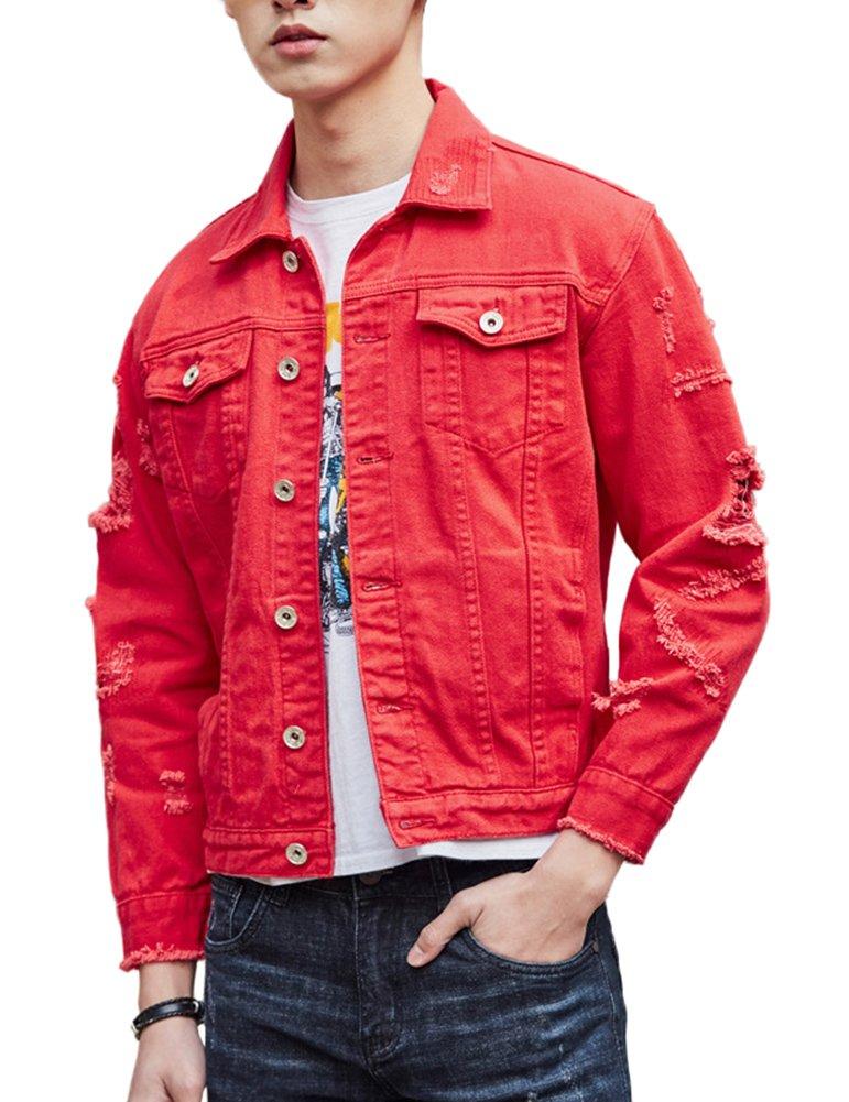 DSDZ Men`s Retro Vintage Washed Ripped Hip Hop Motorcycle Denim Jacket Red M