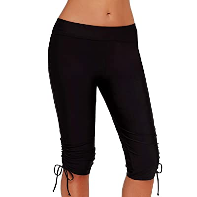 Aleumdr Womens Long Boardshort Swim Bottom High Waisted Tankini Swimwear Shorts at Women's Clothing store