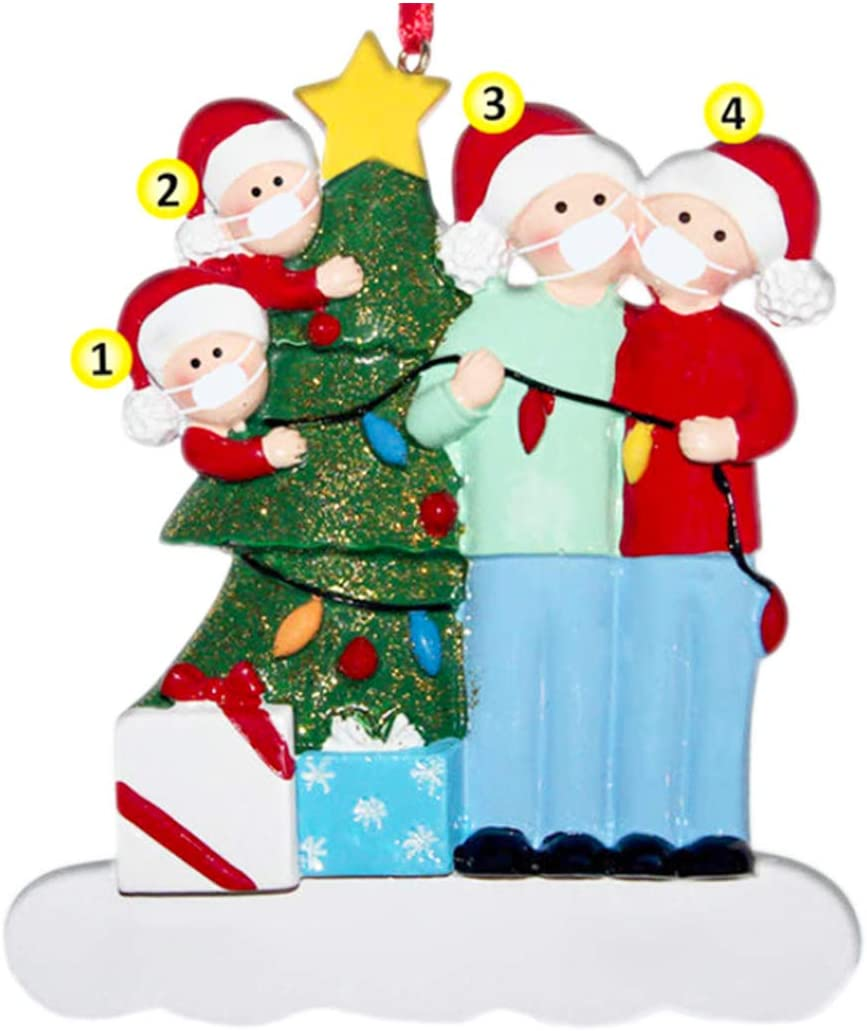 2 members YUE 3 pack Ornament Xmas Tree Ornaments 2020 Christmas Ornament Holiday Decorations Survived Family Christmas Hanging Ornaments for Christmas Tree Home Decor Xmas Gifts