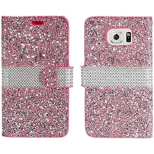 Samsung Galaxy S7 - [Pink] [Diamond Glitter Rhinestone Bling] ID Card Wallet Folio Pouch Case and Atom LED Sales