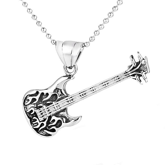 0fa8fec06b1a AnazoZ Collares Goticos Collar Collar Hombre Acero Inoxidable para Grabar  Vintage Punk Rock Guitarra Collar Plata  Amazon.es  Joyería