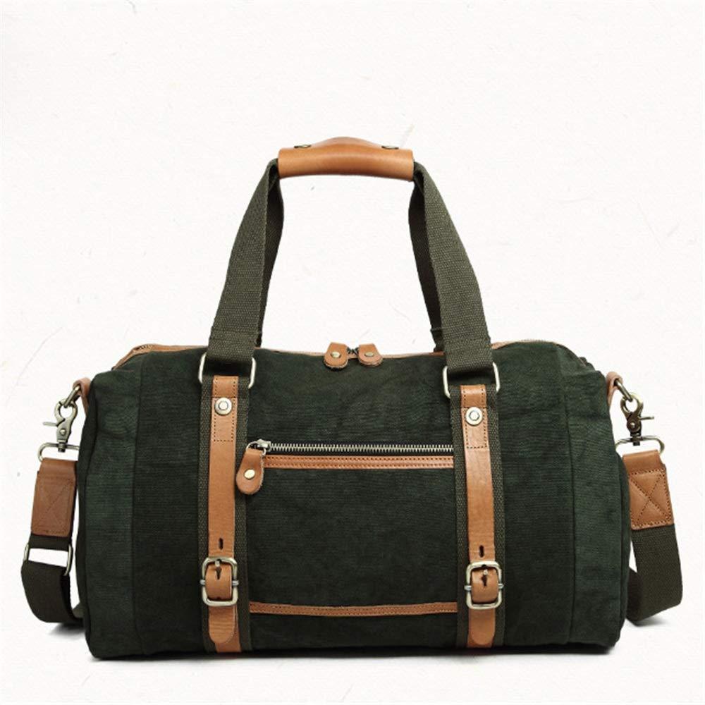 旅行ダッフルバッグキャンバス旅行バッグ、レトロ旅行バッグ、バケツ、バッグ、シリンダー、シンプル、ニュートラルバッグ、男性と女性の手、旅行レジャーフィットネス行バッグ。 旅行用ハンドバッグ (色 : 緑)  緑 B07QLV1HZ9