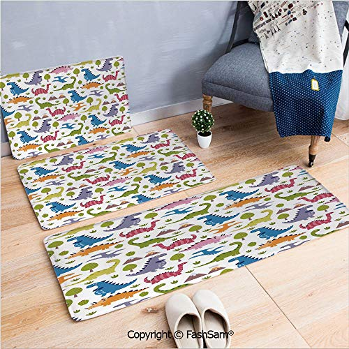 (3 Piece Fashion Flannel Door Mat Carpet Cartoon Style Colorful Lovely Dinosaurs T Rex Triceratops Prehistoric Reptile Wildlife Decorative for Door Rugs living room(W15.7xL23.6 by W19.6xL31.5 by W19.6x)