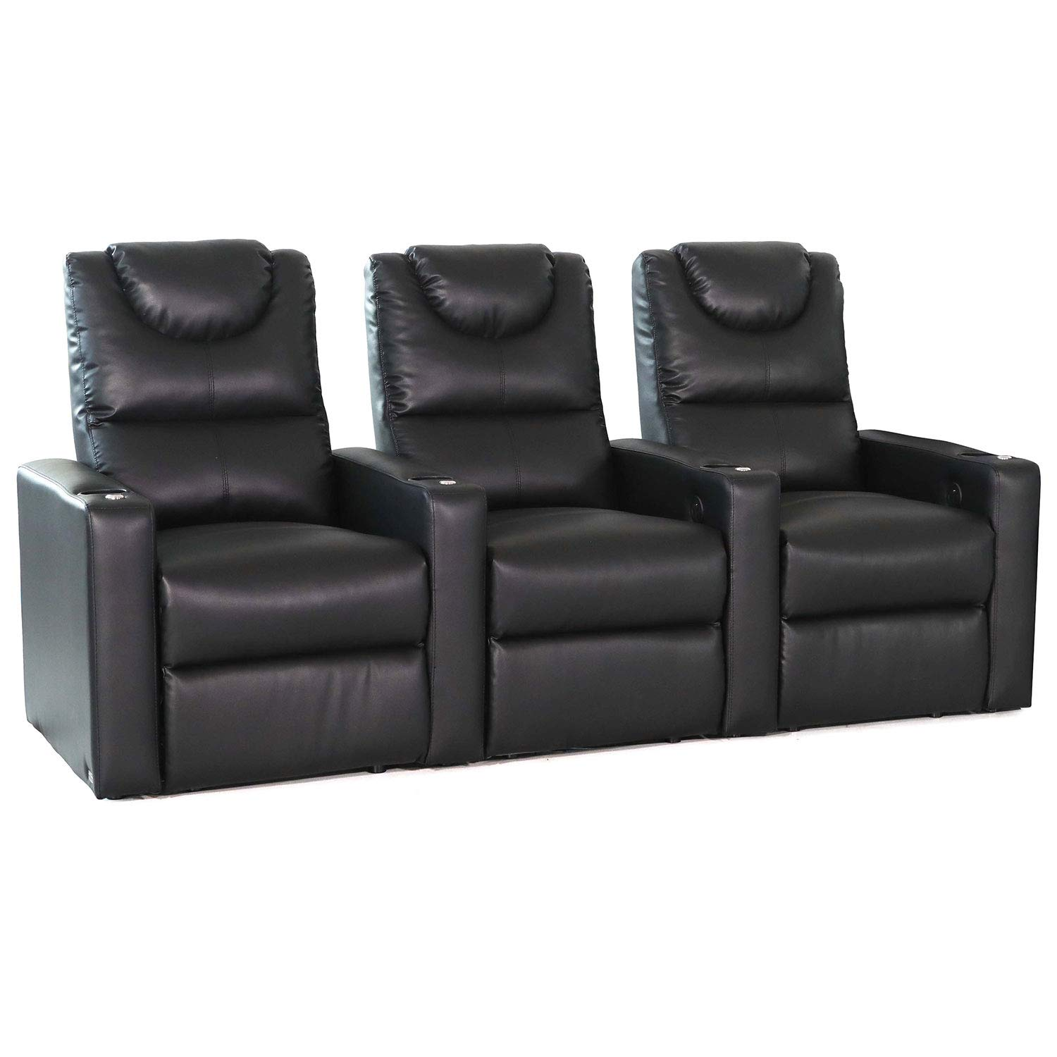 Octane Excel XS800 Black Bonded Home Theater Seating Set of 3