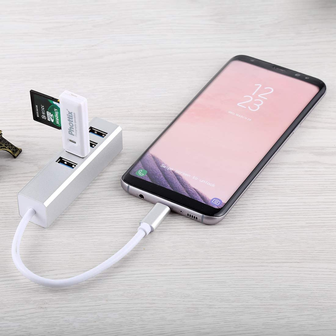 JINYANG USB Hub 5Gbps Super Speed Self//Bus Power 4 Ports USB 3.0 to USB-C//Type-C HUB Converter Color : Silver Silver