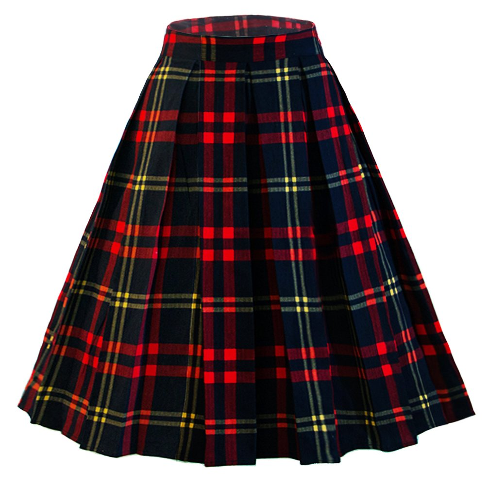 1940s Teenage Fashion: Girls Dressever Womens Vintage A-line Printed Pleated Flared Midi Skirts $19.99 AT vintagedancer.com