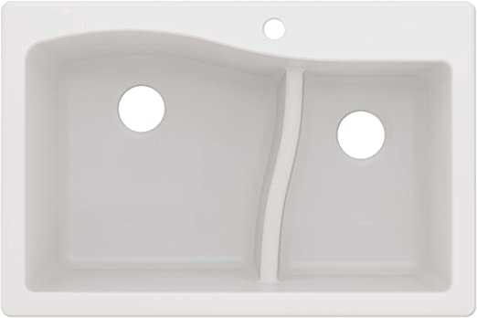 Kraus KGD-442WHITE Quarza Granite Kitchen Sink, 33-inch, White