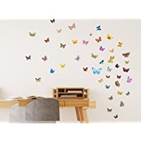 Amazon Brand - Solimo Wall Sticker for Home (Butterflies, ideal size on wall , 93 cm X 45 cm),Multicolour