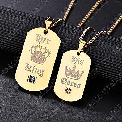 Gkmamrg Un par de mujer hombre pareja King Queen dorados colgante con collar de oro, gutcandie Acero Inoxidable Dog Tag Colgante con grabado His Queen ...