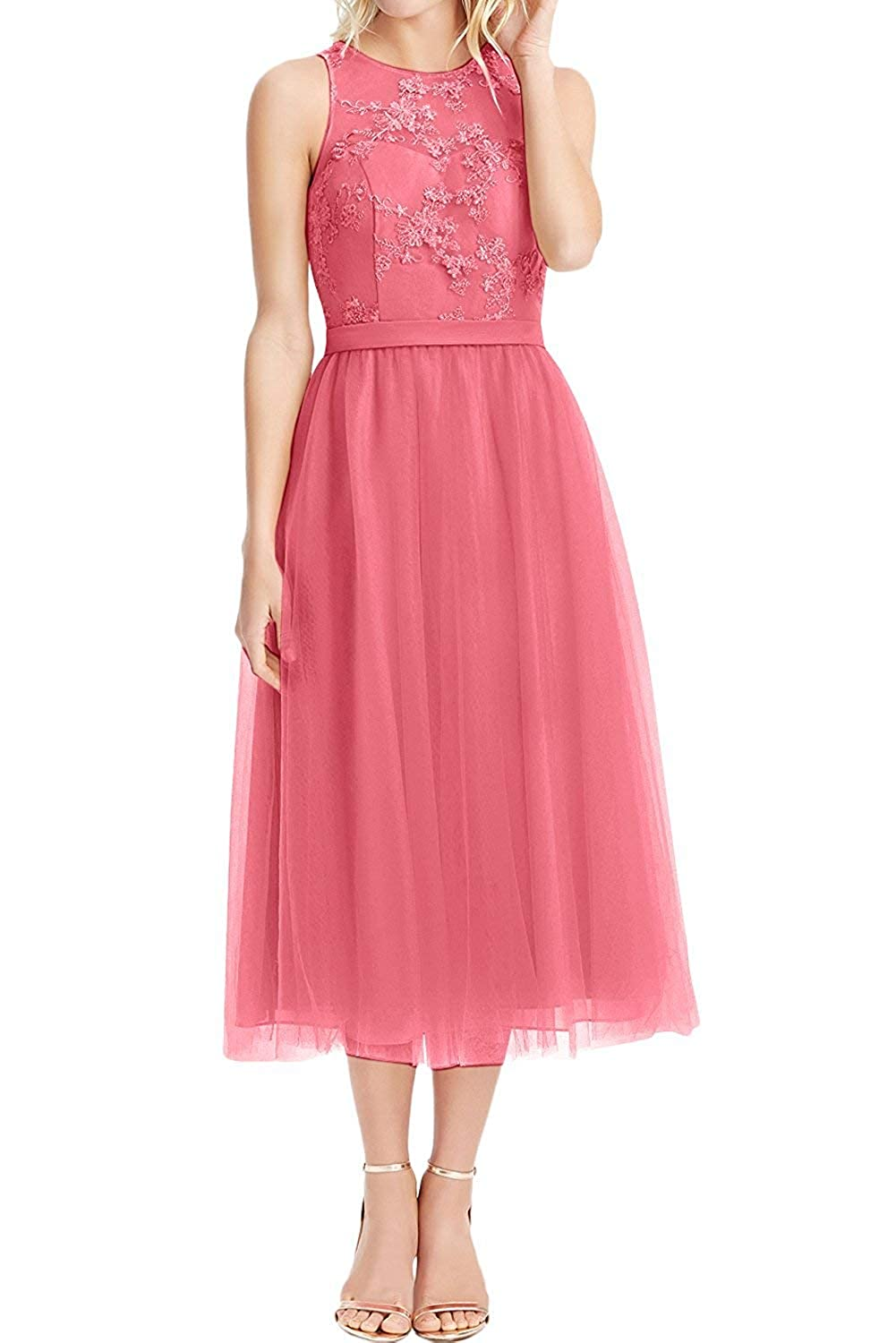 Coral JQLD Women's Elegant Applique High Neck Tulle Bridesmaid Dresses 2019 Short Party Prom Gowns