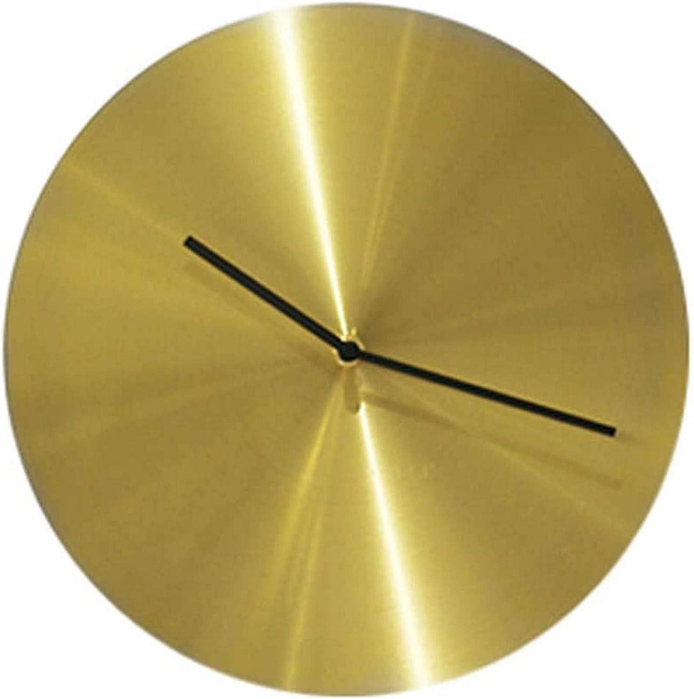 HUAQINEI 12'' Metal Copper Wall Clock,Modern Classic Minimalist Disc Clock,No Digital Scale,Silent Noiseless,Premium Pure Copper Clock for Office,Home,Kitchen,Bar,Living Room Decor,Brass