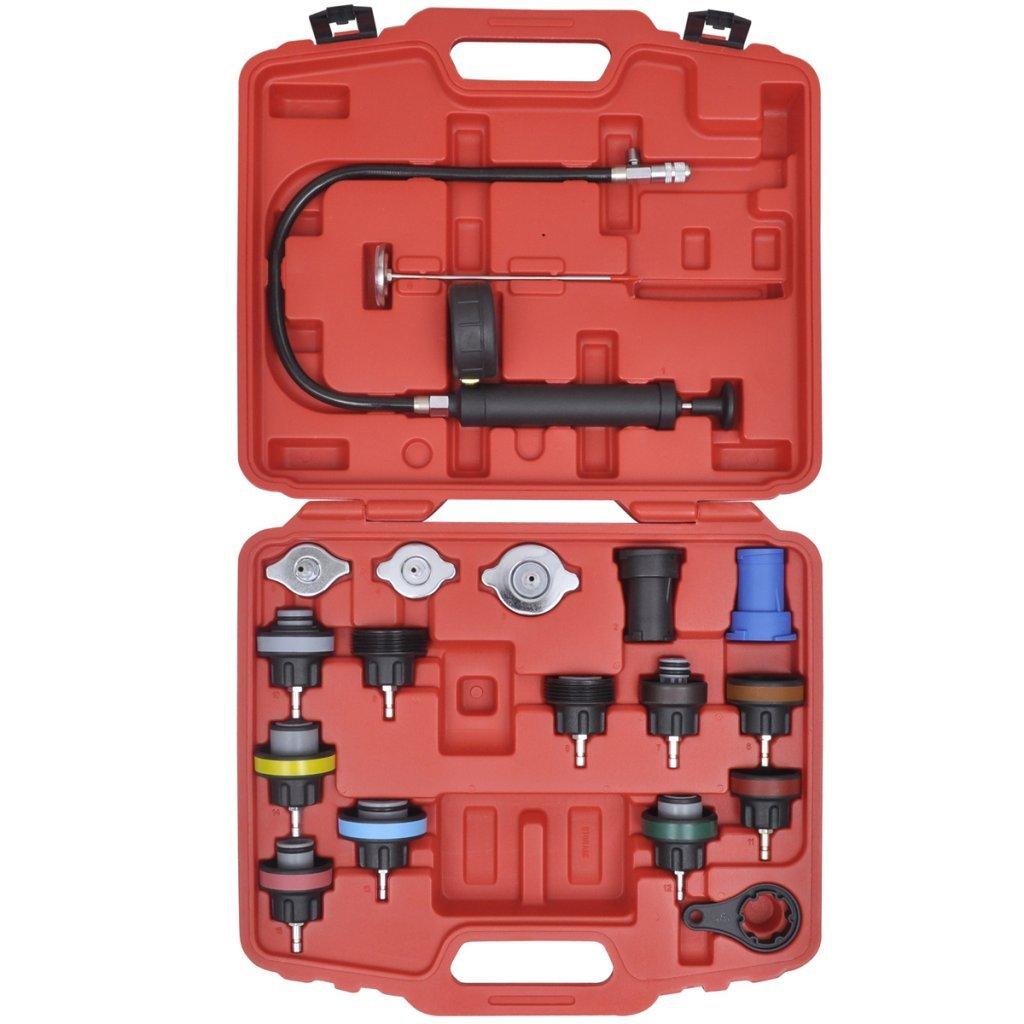 Festnight 18 Pieces Radiator Pressure Tester Kit for VW, Audi, Volvo, Saab, Mercedes-Benz, BMW, etc. Garage Workshop DIY Tools