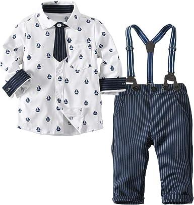 Ropa De Bebé Niño Camisa + Pantalones + Correa 3 Piezas Ropa para Niños Pequeños Adecuado para Bebés De 3 A 12 Meses.: Amazon.es: Ropa y accesorios