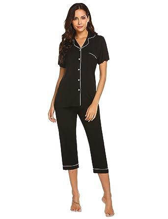 937f7b6681 Ekouaer Women s Pajamas Comfy Sleepwear Loungewear PJ Sets with Short  Sleeve Tops and 3 4