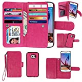 Case for Samsung Galaxy S6, xhorizon Premium Leather Folio Case [Wallet Function] [Magnetic Detachable] Fashion Wristlet Lanyard Hand Strap Purse Soft Flip Book Style Multiple Card Slots Cash Compartment Pocket with Magnetic Closure Case Cover Skin ZA5 for Samsung Galaxy S6 (G9200) - Rose Red